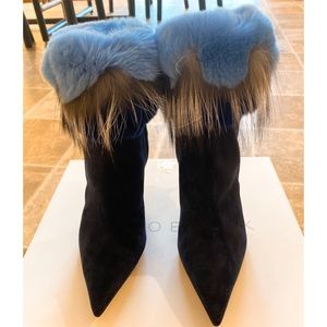 Manolo Blahnik Navy Blue Suede Boot with Fur 7/37